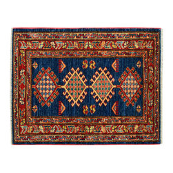 Navy Blue Hand Knotted Oriental Rug 2x3 100% Wool Tribal Super Kazak Rug SH15224 - This collections consists of well known classical southwestern designs like Kazaks, Serapis, Herizs, Mamluks, Kilims, and Bokaras. These tribal motifs are very popular down in the South and especially out west.
