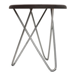 Ampersand - Delta Stool, Black Walnut Top with Stainless Steel Legs - Perplexing in its simplicity, Delta appears unbalanced, yet stands strong in its construction. Its structure is formed by three hairpin legs that sturdily interlock, requiring no hardware or adhesives. Delta stools can be found as humble side seating, or tables, in living spaces, meeting areas, waiting rooms, lobbies, and bedrooms. They are also excellent in retail and educational environments. Hand-made by Ampersand in Cincinnati, OH from locally-sourced black walnut or hard maple and American-made stainless steel or brass.