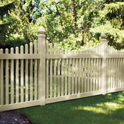 "Beautiful, Functional Fencing - Scallop vinyl picket fence in ""sand"" color. veranda fencing built by Barrette and manufactured exclusively for The Home Depot. Available by special order."