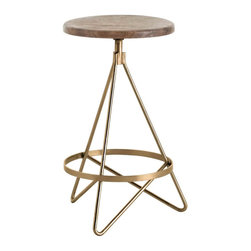 Kathy Kuo Home - Windham Industrial Vintage Brass Wood Iron Swivel Counter Stool - This vintage brass framed swiveling stool is an exercise in the beauty of geometry and gorgeous alone or in a group.  Perfectly suited for industrial, midcentury modern and contemporary spaces of every stripe.