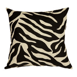 Pillow Decor - Pillow Decor - Linen Zebra Print 20 x 20 Throw Pillow - A bold black zebra pattern print is splashed across this 100% linen pillow, front and back. Unlike many other scaled down zebra print designs, this pattern is large enough to really do the zebra justice. The more neutral and less contrasting black on sand color combination gives this 20 x 20 square pillow a calm versatility.