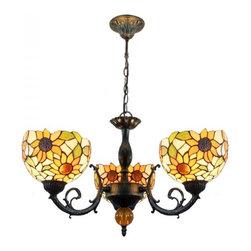 ParrotUncle - Vintage Iron Base Tiffany Sunflower Chandelier 3 Lights - Vintage Iron Base Tiffany Sunflower Chandelier 3 Lights