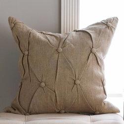 Button Tufted Natural Linen Pillow -