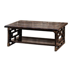 Uttermost - Uttermost Deron Wooden Coffee Table 25600 - Plantation-grown mango wood, planked and carved in rubbed black finish with red wood undertones and antique brass metal corner plates.