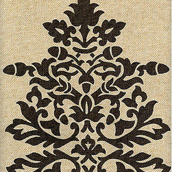 "Acorn Filigree Damask - Rustic but elegant, I like to think this fabric would be perfectly at home in an ""upscale"" farmhouse. It has that high end burlap look, which really compliments the designer's casual twist on a damask."
