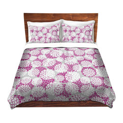 DiaNoche Designs - Duvet Cover Microfiber by Pom Graphic Design - Violet Floral Blossoms - Super lightweight and extremely soft Premium Microfiber Duvet Cover in sizes Twin, Queen, King.  This duvet is designed to wash upon arrival for maximum softness.   Each duvet starts by looming the fabric and cutting to the size ordered.  The Image is printed and your Duvet Cover is meticulously sewn together with ties in each corner and a hidden zip closure.  All in the USA!!  Poly top with a Cotton Poly underside.  Dye Sublimation printing permanently adheres the ink to the material for long life and durability. Printed top, cream colored bottom, Machine Washable, Product may vary slightly from image.