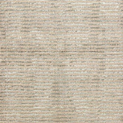 Cut Stripe Ocean Hand Knotted Rug - Conceptually stunning in its alternating stripes of practical, traditional looped pile with shimmering cut streaks, the Cut Stripe Ocean Hand-Knotted Rug provides loomed-fiber style with a rhythmic ripple of textures.  Colored a soft seaglass hue which is just a hint of cool tones away from neutral, the rug makes a splendid addition to a room where layered textures are key to welcome and beauty.