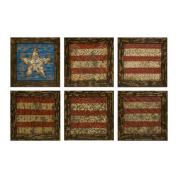 iMax - iMax Glory American Flag Wall Decor- Set Of 6 X-6-47374 - Reminiscent of tin ceiling tiles, this set of six aged frames encase stamped metal featuring antiqued finishes and a basic rendering of Old Glory.
