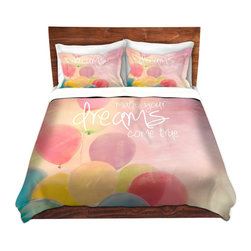 DiaNoche Designs - Duvet Cover Twill - Make Your Dreams Come True - Lightweight and soft brushed twill Duvet Cover sizes Twin, Queen, King.  SHAMS NOT INCLUDED.  This duvet is designed to wash upon arrival for maximum softness.   Each duvet starts by looming the fabric and cutting to the size ordered.  The Image is printed and your Duvet Cover is meticulously sewn together with ties in each corner and a concealed zip closure.  All in the USA!!  Poly top with a Cotton Poly underside.  Dye Sublimation printing permanently adheres the ink to the material for long life and durability. Printed top, cream colored bottom, Machine Washable, Product may vary slightly from image.