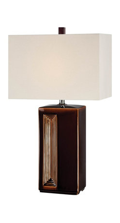 Lite Source - Lite Source Caramella 25W CFL Transitional Table Lamp X-99122-FSL - An off-center accent draws the eye in and compliments the rectangular shape of the ceramic body on this Lite Source table lamp. From the Caramella Collection, this transitional table lamp features a linen fabric shade and comes finished in a warm and luxurious Coffee color.