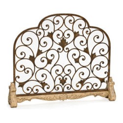 Ambella Home - Heartstone Fireplace Screen - Scrolling wrought iron sits atop an intricate cast stone base with heart shaped feet. The perfect complement to any fireplace. Dimensions: 45 in. x 9 in. x 37 in.