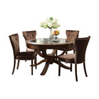 "Acme - 5 PC Kingston Contemporary Collection Brown Cherry Finish Wood Round Table Set - 5-Piece Kingston contemporary collection brown cherry finish wood round glass top pedestal table set with plush fabric upholstered chairs. This set includes the Table, 4 - side chairs. Additional chairs also available separately at additional cost. Table measures 54"" Dia. Side chairs measure 38"" H to the back. Some assembly required."