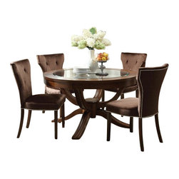 """Acme - 5 PC Kingston Contemporary Collection Brown Cherry Finish Wood Round Table Set - 5-Piece Kingston contemporary collection brown cherry finish wood round glass top pedestal table set with plush fabric upholstered chairs. This set includes the Table, 4 - side chairs. Additional chairs also available separately at additional cost. Table measures 54"""" Dia. Side chairs measure 38"""" H to the back. Some assembly required."""