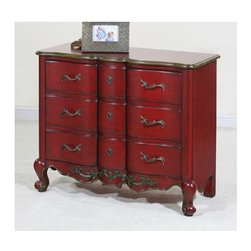 Ultimate Accents - Crimson Commode in Red - Two door. Antique hardware. European hinges doors. Shelf behind each door. French inspired look. Made from wood. Minimal assembly required. Top: 36 in. W x 16 in. D. Drawer: 6.5 in. W x 6.25 in. D. Interior: 21.25 in. W x 12.25 in. D. Overall: 36 in. W x 16 in. D x 31 in. H (77 lbs.)Add a unique look to any room with this vibrant crimson commode. Distressed finished with European hinges and antique hardware.