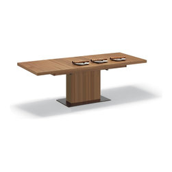 Domitalia - Vita Dining Table, Walnut - -Extendible Lacquered Steel base Plate
