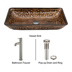 Vigo - Flat Edged White Glass Vessel Sink with Bronze Wall Mount Faucet - The VIGO Flat Edged Phoenix Stone Vessel Sink with Antique Rubbed Bronze Wall Mount Faucet combines simplicity and elegance in one.