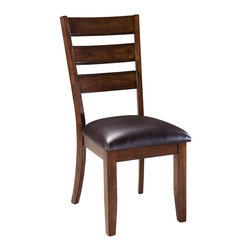 Standard Furniture - Standard Furniture Abaco Ladder Back Side Chair with Black Vinyl Seat (Set of 2) - Ladder Back Side Chair with Black Vinyl Seat belongs to Abaco collection by Standard Furniture. Abaco Dining group has casual styling and a weighty look that speaks of sturdiness and durability for today's family life.