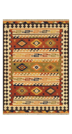 """Loloi Rugs - Loloi Rugs Isara Collection - Multi, 3'-6"""" x 5'-6"""" - The Isara Collection finds inspiration from antique Turkish and Persian kilims, updating the vintage looks for today. These reversible tribal and Southwestern looks maintain an antique, worn appearance, thanks to a meticulous coloring process. Made in India of 100% wool, Isara is a new classic for today."""