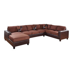 ACME - Acme Dannis Reversible Sectional in Chocolate - The Dannis Sectional sofa reflects a clean contemporary styling oversized blocked feet and espresso bycast leather appointments. This will give our living room environment the perfect contemporary style you have been looking for.