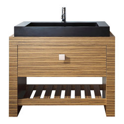 Avanity - Knox 39-inch Vanity Combo - Take a walk on the wild side with this zebrawood vanity. It'll give your bath an exotic edge and plenty of visual interest with its unique striped appearance. But it'll appeal to your practical side, too, with a large storage drawer and shelf below to stack towels.