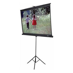 """Elitescreens - 100"""" Tripod Portable 4:3 - Elite Screens inc. T100UWH 100"""" Diag. Tripod Portable Pull Up Projector Screen for home theater or video use in 16:9 or 4:3 aspect ratio View 49"""" x 87"""" Screen 54"""" x 90"""" Matte White Black Case Standard Keystone Eliminator Extra Top Drop - Front Projection and Advanced Auto Locking System - Easy Pull and Stay."""