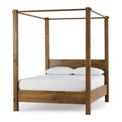 Vintage Fir Canopy Bed - This bed can be dressed up in linens as a true canopy, or left plain to show off it's traditional yet clean modern lines. Oh, and it's made from richly grained reclaimed vintage fir to boot!
