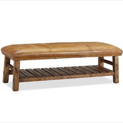 Caden Leather Bench - I can picture this bench looking great in a lodge or rustic-style interior. The leather and nailhead detail are the perfect finishing touches.