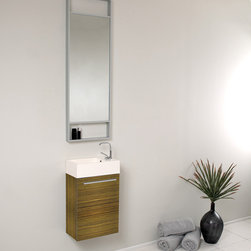 "Fresca - Fresca Pulito 16"" Zebra Modern Bathroom Vanity - Innovative design and economical size combine to make this ECO friendly vanity ideal for any smaller location. 15.5"" wide, 24.75"" high, and 8.5"" deep, the Fresca Pulito is available in various finishes to ensure that, regardless of your color scheme, any space can achieve cutting-edge, contemporary chicness. Finally! A vanity ensemble that gets you in and gets you out into the world with style! A winning combination that is complimented with an extra-long, 15.75"" wide x 47.75"" high x 2"" deep vertical mirror.Items included: Vanity, Mirror, Sink, Faucet, P-Trap and Pop-Up Drain, Standard hardware needed for installation.DecorPlanet is proud to offer Fresca Bathroom products. Fresca is a leading manufacturer of high-quality vanities, accessories, toilets, faucets, and everything else to give you the freshest bathroom in the neighborhood. Fresca is known for carrying the latest and most popular styles in modern and contemporary bathroom design that are made with high quality materials and superior workmanship."