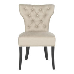 Safavieh - Carlotta Side Chair - Designed for a touch of glamour around the dining table, the biscuit beige Carlotta tufted side chair is brimming with transitional allure.  Its curvaceous seat back is beautifully detailed with button tufting, and silver nail heads outline the silhouette.  Black birch wood legs contrast the linen-weave poly fabric.