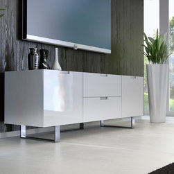 Modloft - Eldridge Media Cabinet, White Lacquer - The Eldridge media cabinet, with its ultra clean lines, spans just over 5' long - a perfect fit for tight spaces. With two center drawers that measure 22W x 15D, and two side cabinets (17W x 16D x 14H) there will be plenty of room for storage. Each side cabinet includes an adjustable middle shelf (.5 thick). Smooth cabinet doors open to an A/V-ready compartment complete with rear ventilation/wire holes. Minor assembly required (legs detached). Available in wenge or walnut wood finishes. Also available in white lacquer finish. Imported.