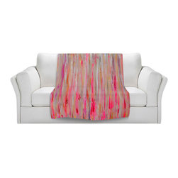 DiaNoche Designs - Fleece Throw Blanket by Jackie Phillips - Pink Abstract - Original Artwork printed to an ultra soft fleece Blanket for a unique look and feel of your living room couch or bedroom space.  DiaNoche Designs uses images from artists all over the world to create Illuminated art, Canvas Art, Sheets, Pillows, Duvets, Blankets and many other items that you can print to.  Every purchase supports an artist!