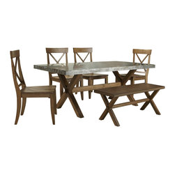 Liberty Furniture - Liberty Furniture Keaton 6 Piece 76x38 Dining Room Set w/ Bench in Medium Wood a - Crossed trestle base, clean lines, and a casual honey finish give this dining set a relaxed look for your kitchen or casual dining space. A Zinc metal table top offers a modern spin on casual dining that looks great in any home. The table trestle base maximizes foot and leg room while maintaining a stylish allure. The chair's scooped seat and higher back offer comfort and support, while the x-back design, tapered legs, and warm honey finish bring a stylish aesthetic to your dining space. Spice it up with a metal-on-wood dining group centerpiece in your dining room. With a slight mission edge, this casual modern dining set is designed to to last through the years. What's included: Dining Table (1), Side Chair (4), Bench (1).
