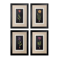 Springtime Flowers Wall Art, Set of 4 - *Prints Are Accented By White, Off-white And Sand Faux Linen Mats. Frames Are Black Satin Accented With Silver Inner Lips With A Heavy Gray Glaze.