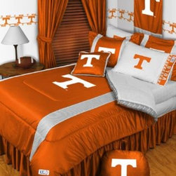 Sports Coverage - Tennessee Volunteers NCAA Sidelines Complete Bedroom Package - Queen - Save big and show your team spirit with Tennessee Volunteers Sidelines Complete Bedroom Package which includes a Comforter, Sheet set, Shams, Pillows, Bedskirt, Drapes and Valance! Buy the complete Bedroom Package and save off our already discounted prices - the best we could find; when you buy the complete bedroom package instead of each piece separately, you save and save big. Sheet Sets are plain white in color with no team logo. Bedskirt and Drapes are available in team color with no team logo printed on them.   Includes:  -  Comforter - Twin 66 x 86, Full/Queen 86 x 86,    -  Flat Sheet - Twin 66 x 96, Full 81 x 96, Queen 90 x 102.,    - Fitted Sheet - Twin 39 x 75, Full 54 x 75, Queen 60 X 80,    -  Pillow case Standard - 21 x 30,    - Pillow Sham - 25 x 31,    -  Bedskirt - Twin 76 x 39, Full 76 x 54, Queen 80 x 60 ,    - Window Drapes: 82x 63 ,    - 18 Toss Pillow ,    -  Window Valance : 88 x 14 ,