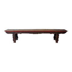 Chinese YunNan Painted Fruitwood Bench - Ref: S-75-0013