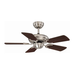 "31"" Pine Harbor Ceiling Fan - Adaptable to a wide range of spaces, this simple ceiling fan flaunts signature Savoy House quality with a stately English Bronze finish. Features reversible fan blades for optimal customization! Choose between Walnut and Teak blade colors. Blades included. Weight: 11. 00 lbsFinish: Satin NickelNumber of Arms: 5Fan Blade Color: Chestnut/MapleBulbs Included: NoBlade Pitch: 14. 00Light Kit Included: NoSafety Rating: UL,CULVoltage: 120"