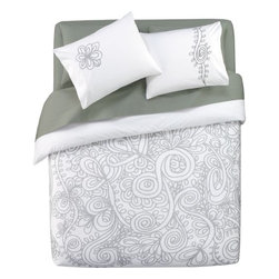 grey vines bed linens - modern baroque. Henna-inspired graphics bloom over the top in a fantastical flourish of grey on crisp white 300-thread-count all-cotton percale. Duvet cover reverses to solid white; nonslip corner ties and hidden button closure. One sham's graced with flora, the other paisley; both reverse to solid white with neat envelope closures.- Graphic grey blooms on white; duvet and shams reverse to solid white- 100% cotton percale- Duvet has hidden button closure; shams have envelope closure- 300 thread count- Machine wash- Shown with Organic Percale Ash Grey Sheet Set (see additional photos)- Made in India- See dimensions below