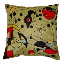 """Modern Wool - Miro Cushion Cover Peces Green Hand Embroidered 18"""" x 18"""" - Elements of Joan Miro's abstract art, from constellations to fish (Peces) to creatures of the sky and sea make this winsome pillow cover a must-have. The Kashmiri artisan has brought the stark black and bright, primary colors into contrast with the light, celery-colored background using hand-dyed, vibrant, durable Kashmir wool thread. The background embroidery is chain-stitched into sworls as unique as your fingerprint. Wool chain-stitch embroidery is a finer form of crewelwork, and Kashmiri artisans are famed for producing the highest quality chain-stitch in the world. Lovely to behold and a delight to touch, this cushion cover will create just the right splash of color in any room you choose."""