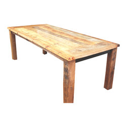 what WE make - reclaimed wood dinning table - This rustic reclaimed wood dinning table is made from old-growth reclaimed wood that has been salvaged in the midwest.  The table has been finished with Monocoat voc-free finish so you can be assured of no toxins entering your home!