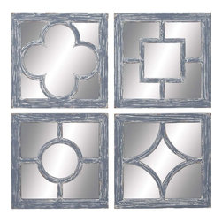 """Benzara - Wall Mirror Assorted Glass and Wood Construction - Set of 4 - A classic showpiece, this assorted set of 4 wood wall mirrors adds to the ideal amount of fancy and interest to any wall of your home. Place it indoors or outdoors in any traditional or modern interior set up, rest assured of its enchanting beauty and noticeable presence. The set has 4 different wall art piece made of super quality wood with different self designs on it. The antique white color finish of the frames adds texture and blends well with the designs in the centre. Place it in your living room, bedroom walls or even in your kitchen walls and retain the authentic appearance for years to come. Featuring sturdy wooden construction, this set of 4 wood wall mirrors adds to the durability, beauty and long life of this showpiece mirror.; Glass and wood construction; Elegant and sturdy design; Suits conventional and modern decor; Suitable for indoor and outdoor use; Weight: 6.17 lbs; Dimensions:18""""W x 1""""D x 18""""H; 18""""W x 1""""D x 18""""H; 18""""W x 1""""D x 18""""H"""