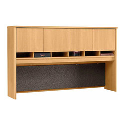 """Bush Business - 4 Door Hutch in Light Oak for 72 in. Desk, Cr - The Light Oak Series C 4 Door Hutch for 72 inch Desk or Credenza provides abundant storage space in an attractively styled package!  This solidly constructed hutch includes a fabric-covered tackboard and a concealed entire upper storage area with self-closing doors. * Mounts on two adjacent Lateral Files. Mounts on any 71"""" wide desk or combination. Includes fabric-covered tackboard. Fully finished back panel. Accepts two task lights (not included). Four doors conceal entire upper storage area. European-style, self-closing, adjustable hinges. 70.984 in. W x 15.354 in. D x 42.992 in. H"""