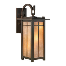Fine Art Lamps - Capistrano Outdoor Wall Mount, 401381ST - This sleek, stylized take on a classic mission design captures the clean lines and warm aura for which the style is known. The soft antique bronze patina and the candlelight-colored striated linen glass shade help give the lantern that air of historic romance. Hang this outside to give your home a welcoming glow.