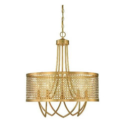 Savoy House - Savoy House 7-1281-5-325 Fairview 5 Light Large Pendant in Rubbed Brass 7-1281-5 - Fairview strikes the perfect balance with gleaming pierced metal and rich rubbed brass finish. This Raymond Waites design has timeless elegance blended with a clean modern vibe. The collection includes a pendant, chandelier, entry and two sconces.Bulb Included: No Bulb Type: Incandescent Candle Cover Type: Metal Candle Cover Collection: Fairview Designer: Raymond Waites Finish: Rubbed Brass Height: 27-1 2 Light Direction: Up Lighting Max Wattage: 60 Number of Lights: 5 Pendant Type: Foyer Safety Rating: UL, CUL Style: Contempary Suggested Room Fit: Dining Room, Foyer, Living Room Voltage: 120 Width: 24