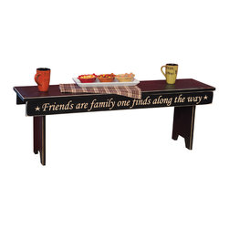 Amish Made Message Bench - 4 Ft., Black - This beautiful sign bench is carved to perfection on a CNC, then assembled, distressed, and finished by skilled Amish hands. Sure to be a conversation piece and an inspiration to all who see it... Please note this piece does not have a secret compartment like our other pieces do.