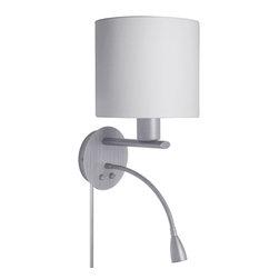 Dainolite - Dainolite DLED410-W-SC Wall Sconce With Led Reading Lamp Sc Finish White Fabric - Dainolite DLED410-W-SC Wall Sconce With LED Reading Lamp SC Finish White Fabric Shade
