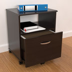 Inval America LLC - Inval Mobile Drawer File - This espresso-finish mobile file cabinet combines functionality with style. The large drawer holds important documents while the shelves easily holds books and supplies, keeping your office organized. The five casters make this cabinet easy to maneuver.