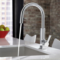 "MOEN - MOEN - STō Kitchen Faucet - Model: S72308 in Chrome - Create your modern dream kitchen with a sleek style that carries from main sink to bar/prep areas for the ultimate in stylish functionality. The thoughtful design behind STō keeps modern conveniences hidden: the pulldown wand docks (or ""stows"") inside the spout, eliminating the seam between the wand and spout."