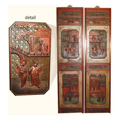 Oriental Antique Wall Panels - This Large set of elegant Chinese antique wall panels come with brass hangers. They are Beautifully carved in a marriage scene and made in traditional Fujian style. They are made of Pine with eggshell inlays, handcarved and painted with rich reds and golds. They are about 60-80 year old and restored
