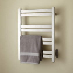 """20"""" Brenton Tall Hardwired Towel Warmer - Suitable for any bath, the 20"""" Brenton Tall Hardwired Towel Warmer features eight rails and mounts to the wall for easy reach."""