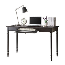 Convenience Concepts - Convenience Concepts Desk X-LB-8912406 - The Classic Lines and an Attractive Black woodgrain fiish make French Country the elegant choice.